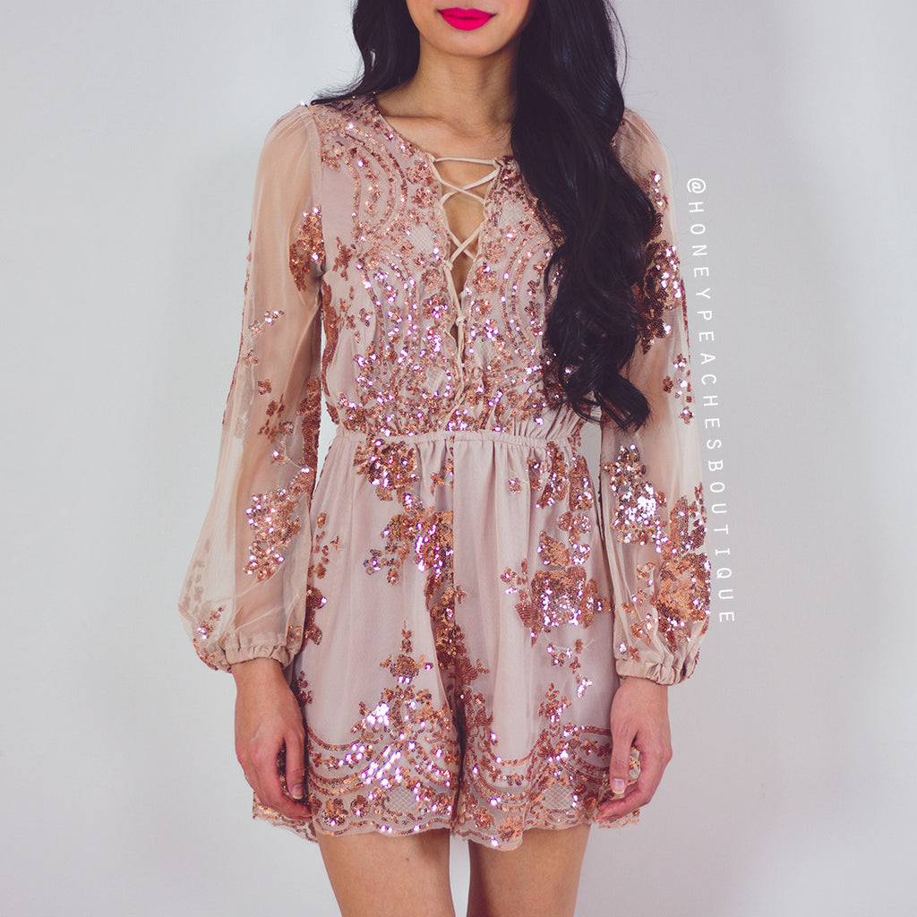 Gracefully Yours Sequin Playsuit - Gold