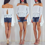 Above The Clouds Off Shoulder Top - White