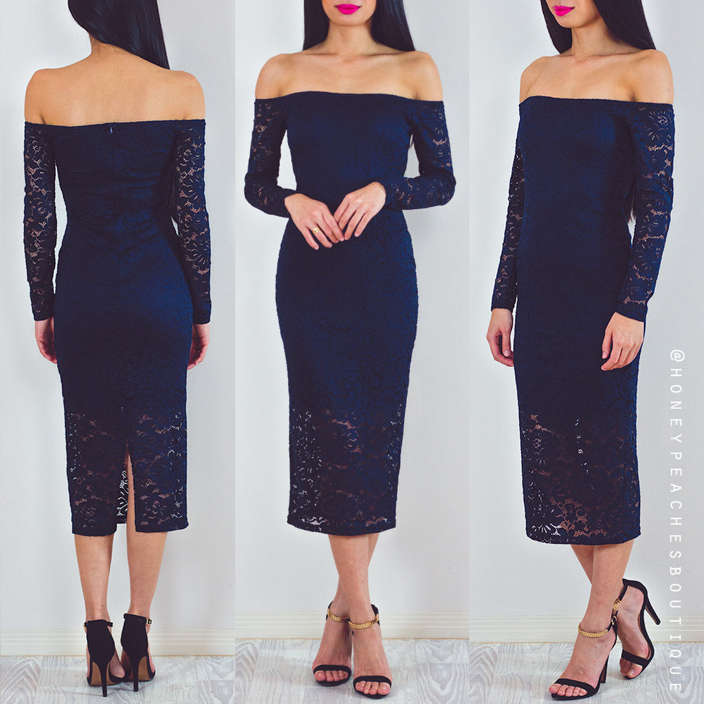 Beautiful Liar Lace Midi Dress - Navy