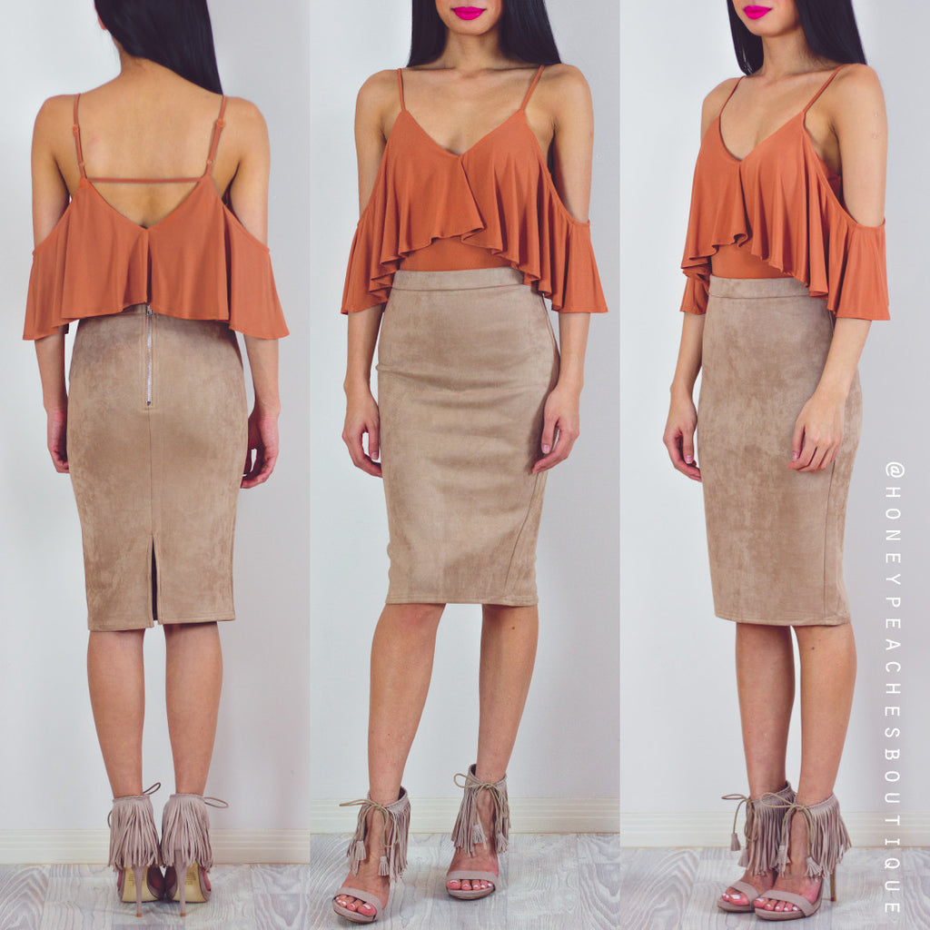 In The City Suedette Midi Skirt - Latte