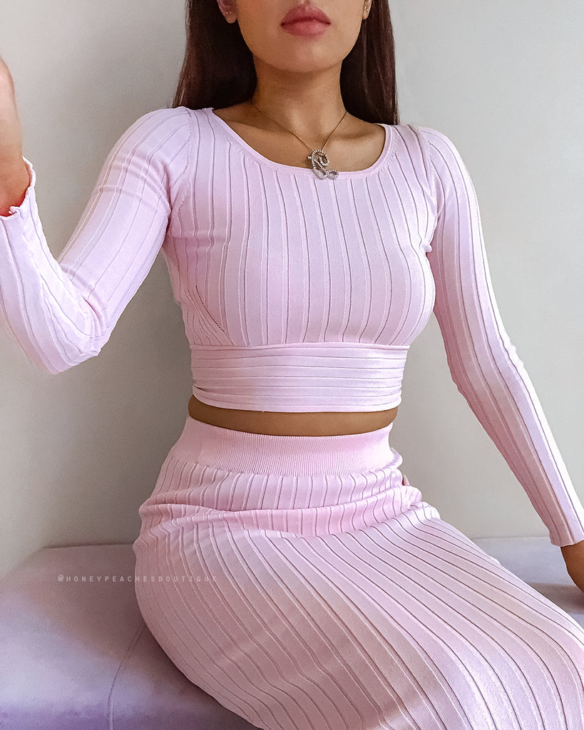 Tatum Knit Crop Top - Pink