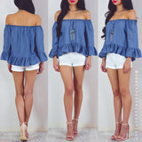 On My Side Off Shoulder Top - Blue Chambray