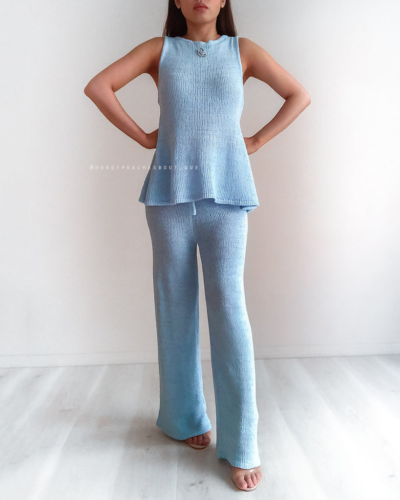 Stevie Knit Pant - Baby Blue
