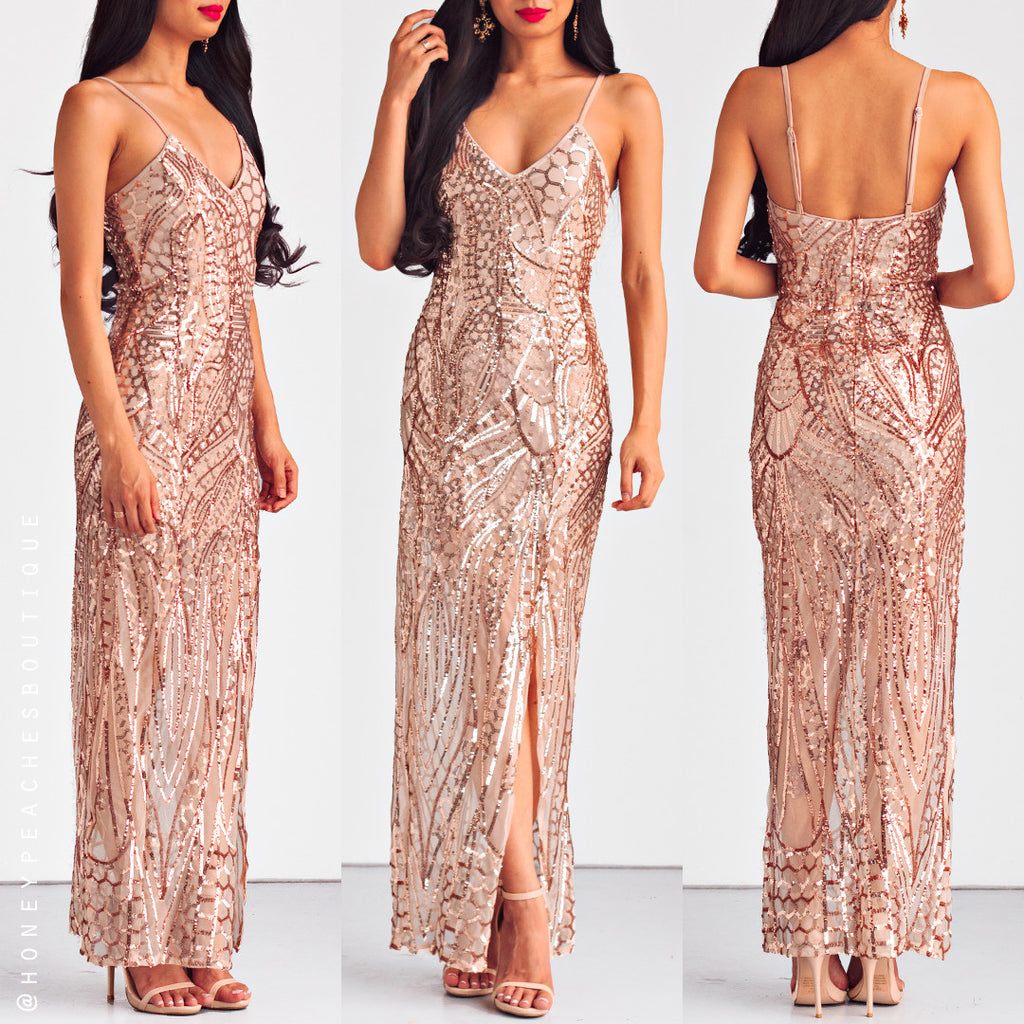 High Stakes Sequin Maxi Dress - Gold
