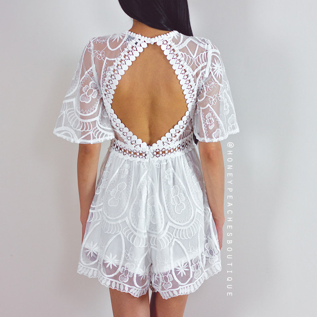 So Into You Lace Playsuit - White