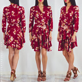 Days Go By Wrap Dress - Red Floral