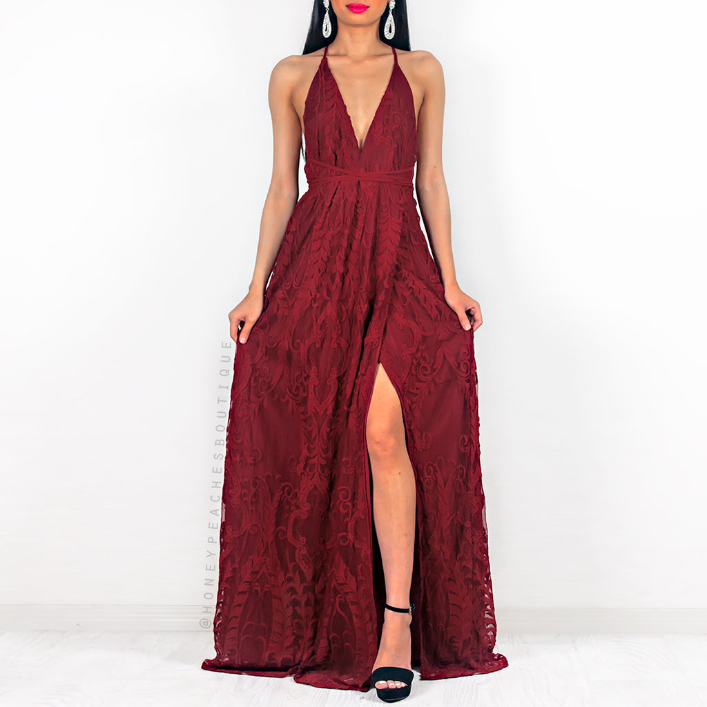 Infinite Love Lace Maxi Dress - Maroon