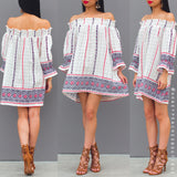 Morning Light Off Shoulder Tunic - White Print