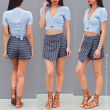 Return The Favour Denim Skort - Blue Print
