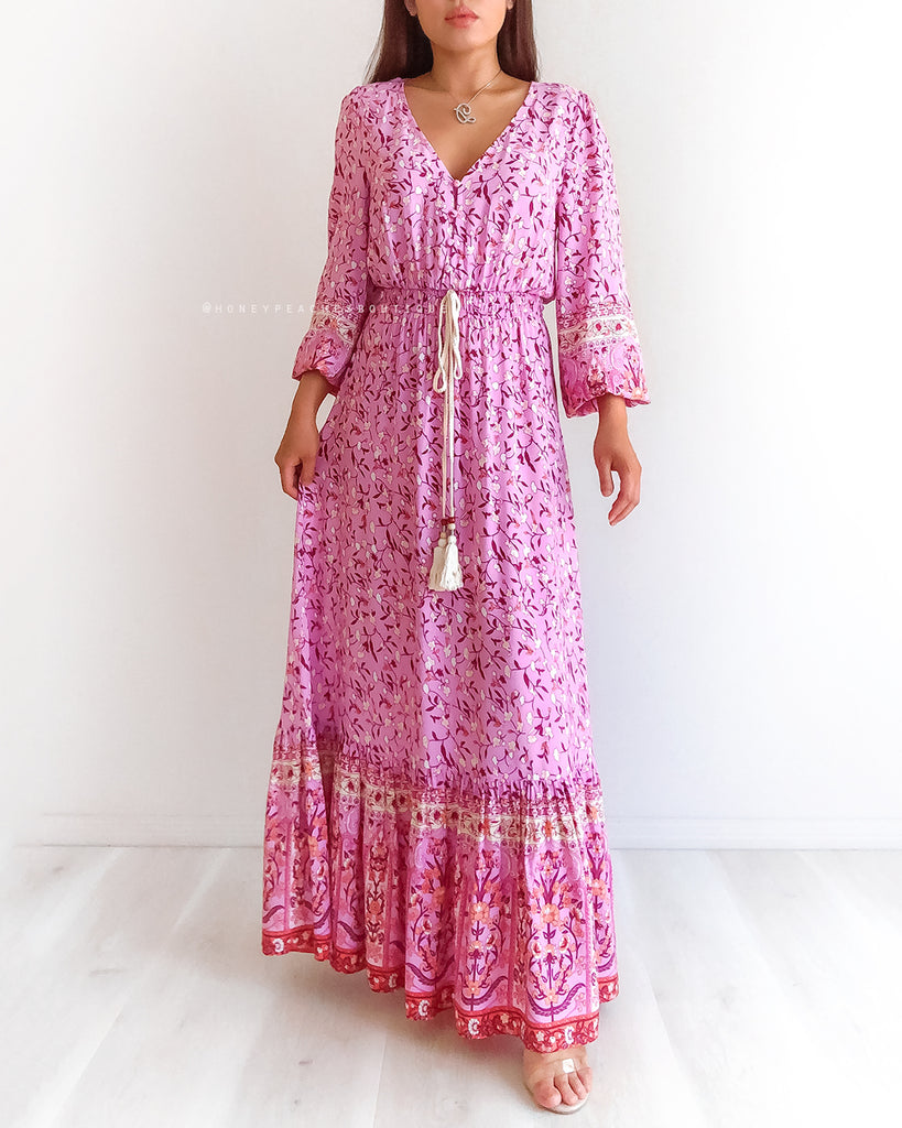 Serenity Maxi Dress - Purple/Orange Floral