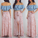 There With You Maxi Skirt - Peach Print