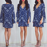 Take Me On A Trip Dress - Navy Print