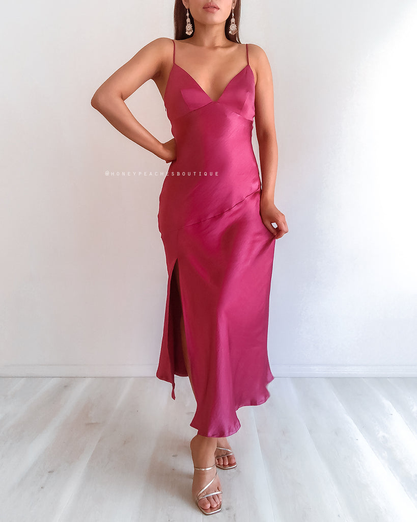 Gia Midi Dress - Fuchsia