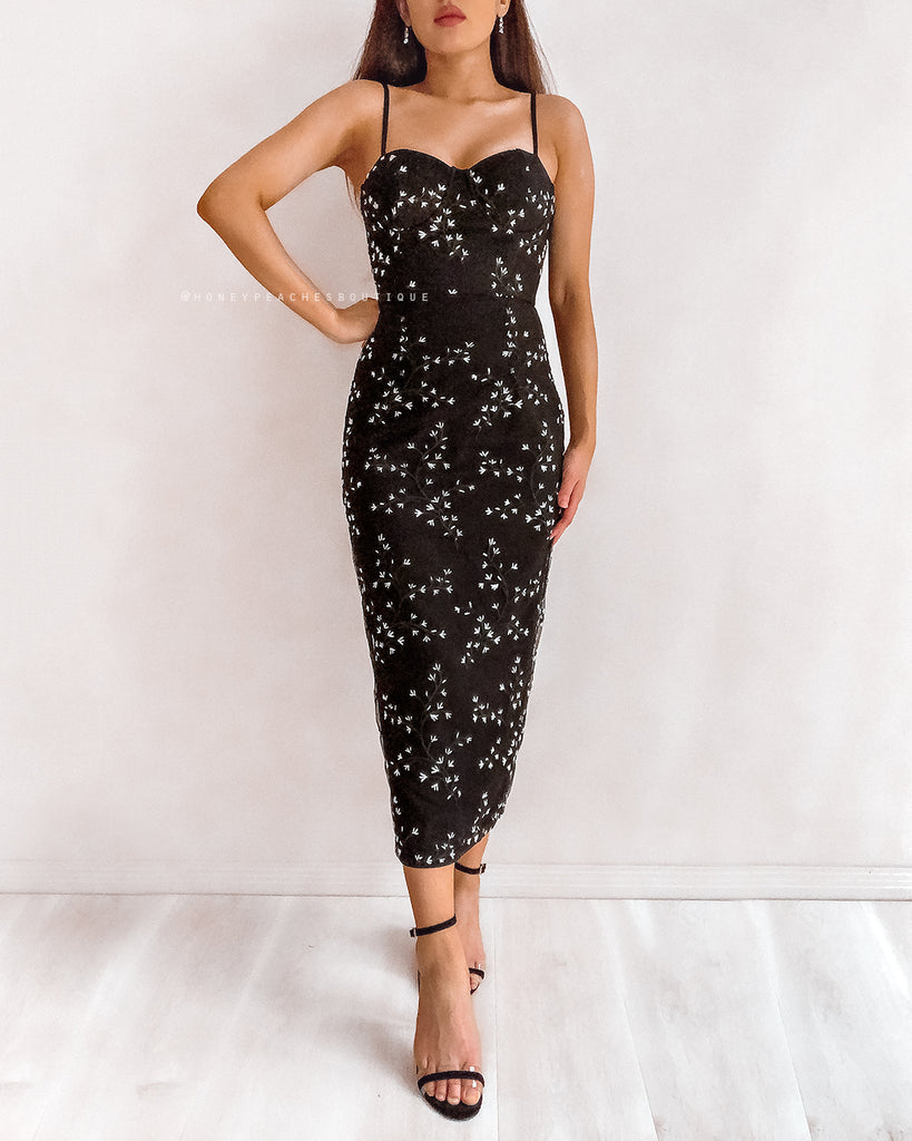 Ivana Midi Dress - Black Blossom