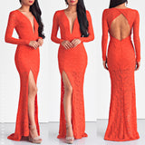 City Lights Lace Maxi Dress - Blood Orange