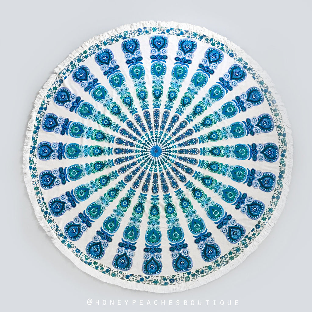 Sapphire Mandala Throw - Green/Blue Print