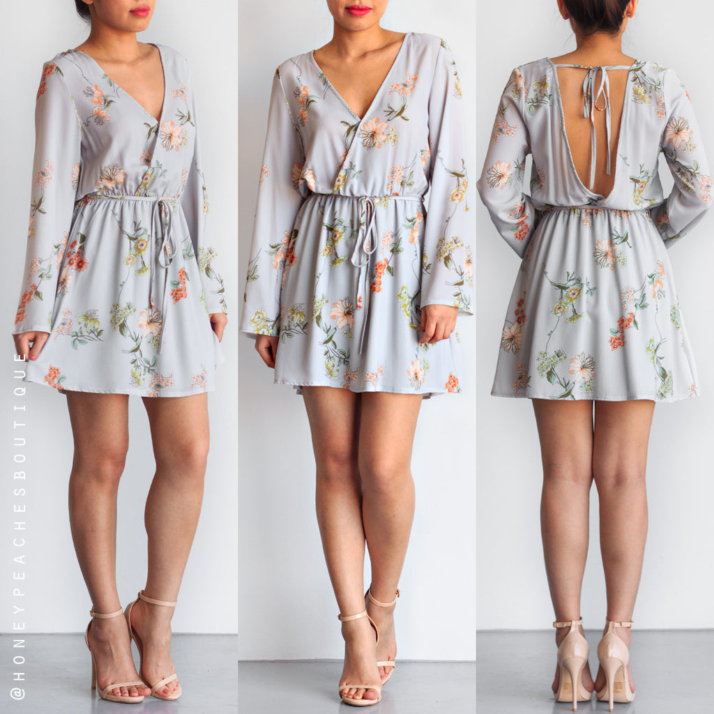 Play It Safe Floral Dress - Grey