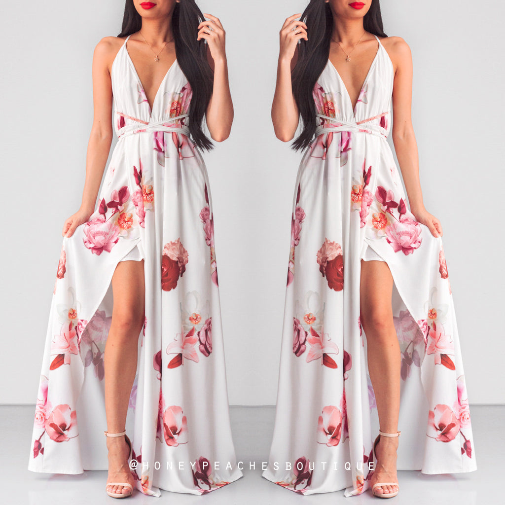Every Lover Maxi Dress - White Floral
