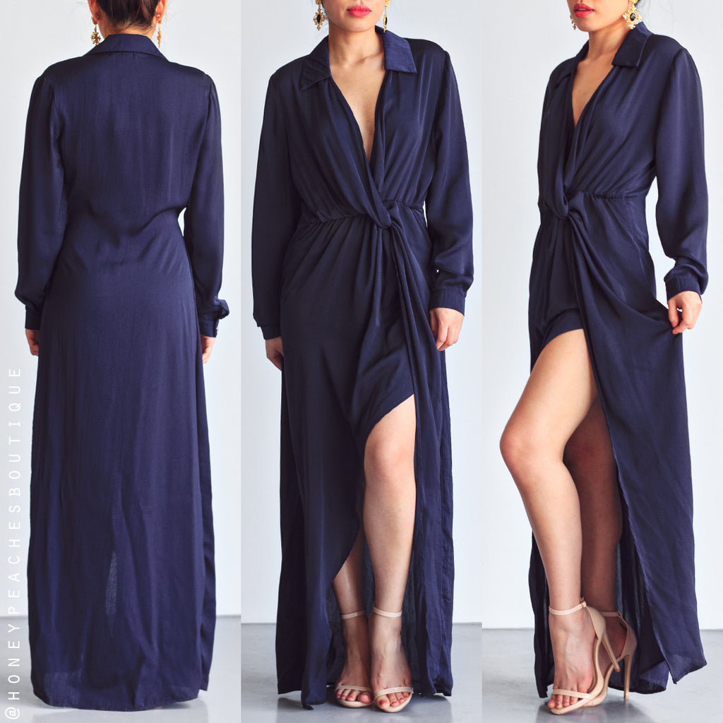 Never Bring Me Down Maxi Dress - Navy