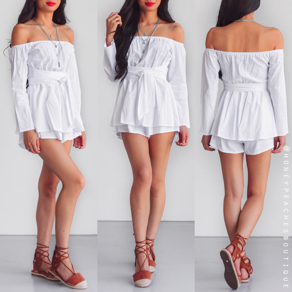 Just Think Off Shoulder Playsuit - White