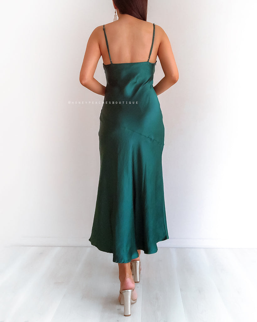 Gia Midi Dress - Emerald Green