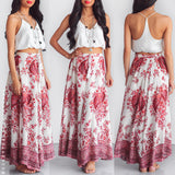 Sunny Days Maxi Skirt - Red Print