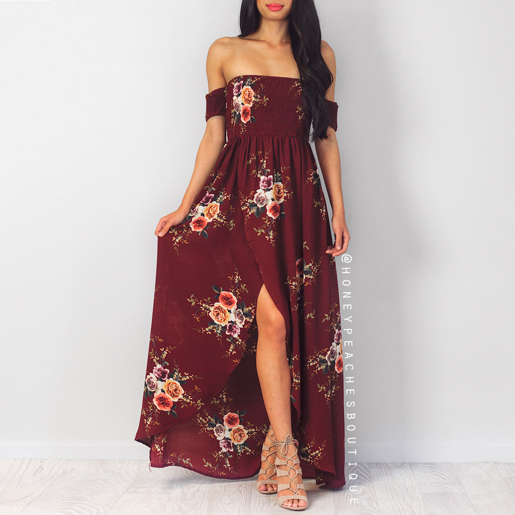 Chains Of Love Maxi Dress - Maroon Floral