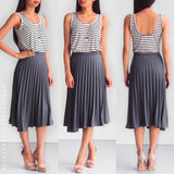 Thousand Miles Apart Pleated Skirt - Grey