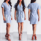 Risk It All Denim Dress - Blue