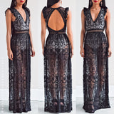 Blissful Dream Bodysuit/Maxi Dress - Black