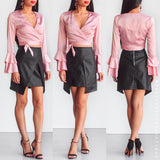 Can't Resist Wrap Crop Top - Dusty Pink