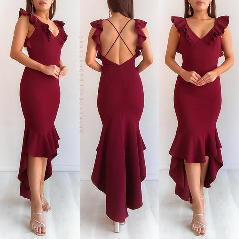 Crystal Maxi Dress - Maroon