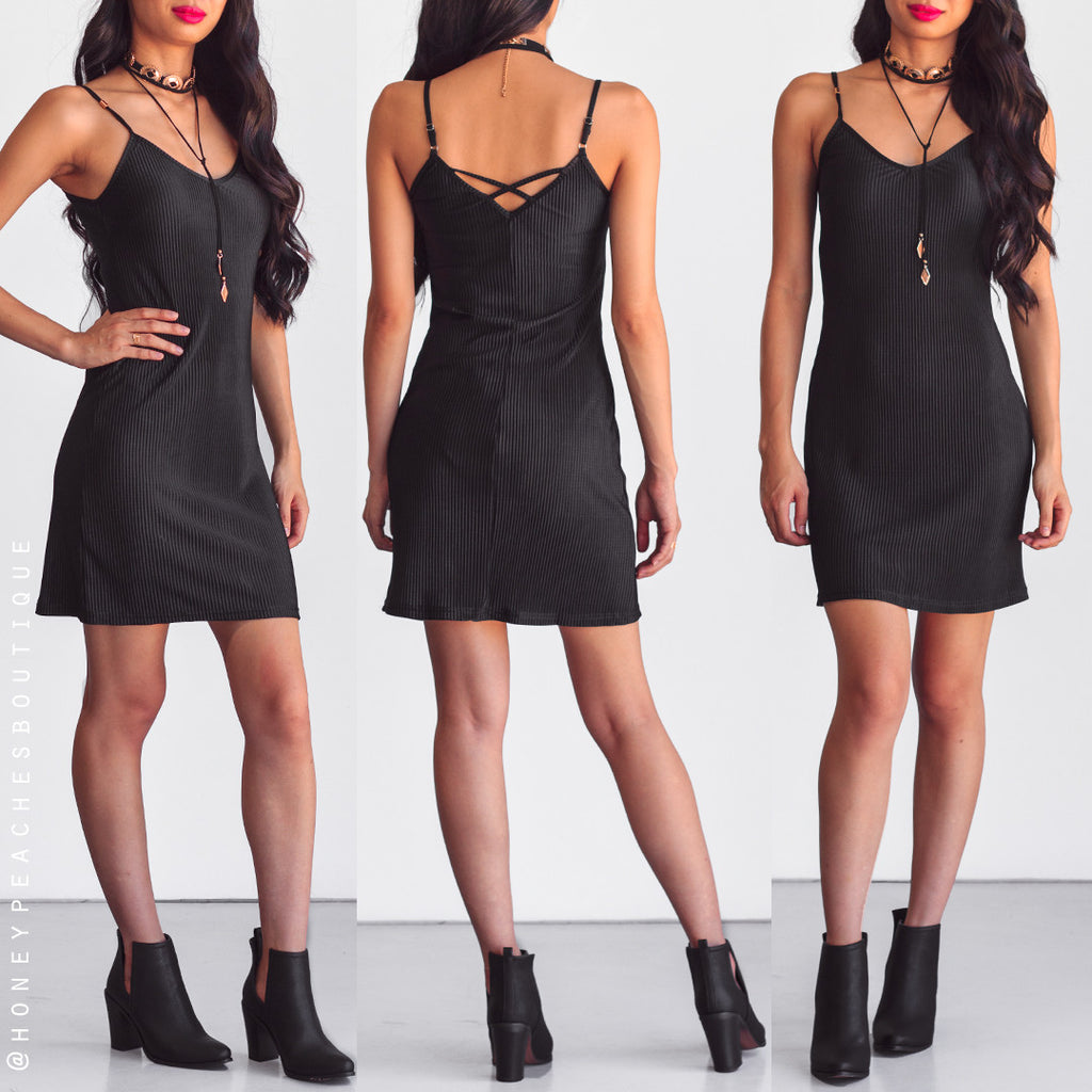 Pieces Of Me Slip Dress - Black