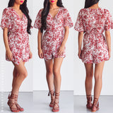 Burnt Summer Playsuit - Red Print