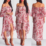Burnt Summer Maxi Playsuit - Red Print