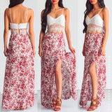Burnt Summer Maxi Skirt - Red Print