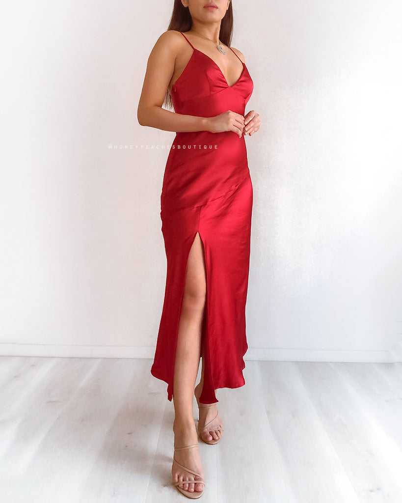 Gia Midi Dress - Red