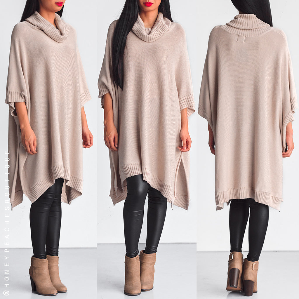 Keep Holding On Knit Poncho - Beige