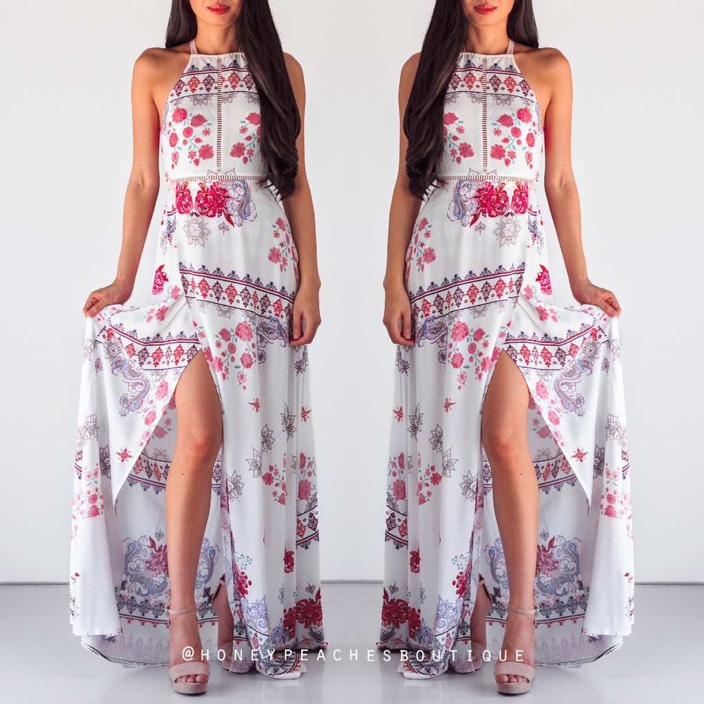 Ethereal Dreams Maxi Dress - White Print