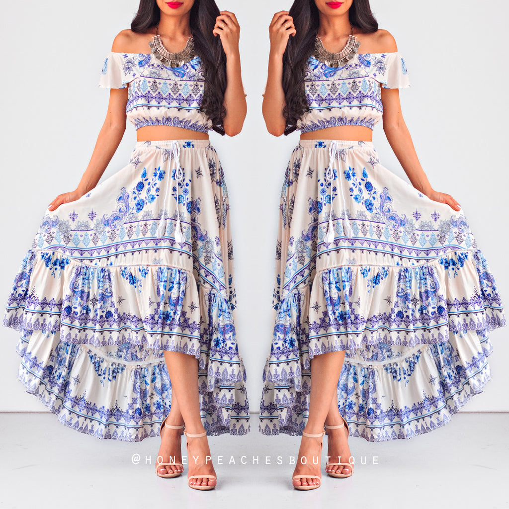 Dreaming of Maldives Skirt - Cream/Blue Print