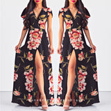 Mystical Garden Maxi Dress - Black Floral