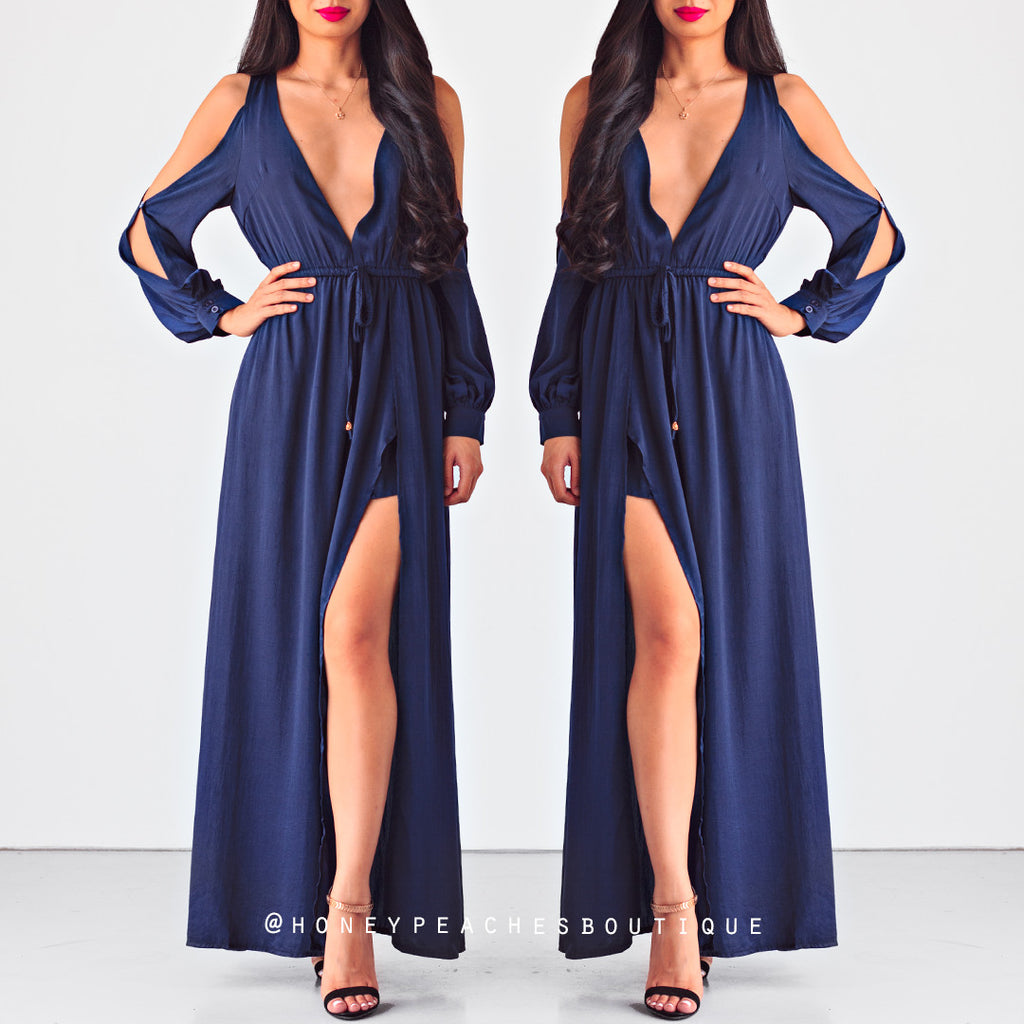 Trouble Maker Maxi Playsuit - Navy