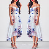 Eternal Love Off Shoulder Dress - White Floral