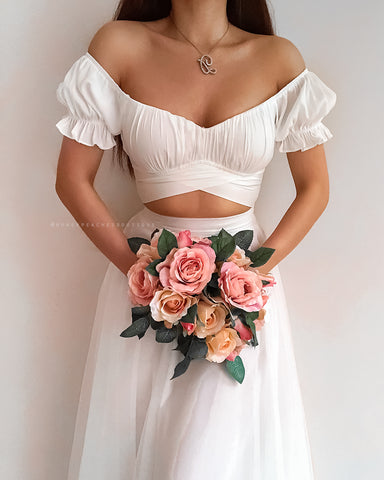 Miranda Frill Sleeve Crop Top - White Floral