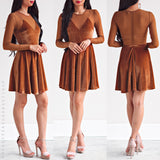 Spice Of Fun Dress - Brown Velvet