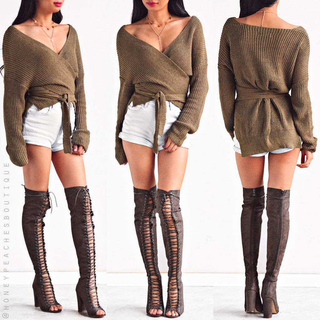 Top That Wrap Knit Sweater - Khaki