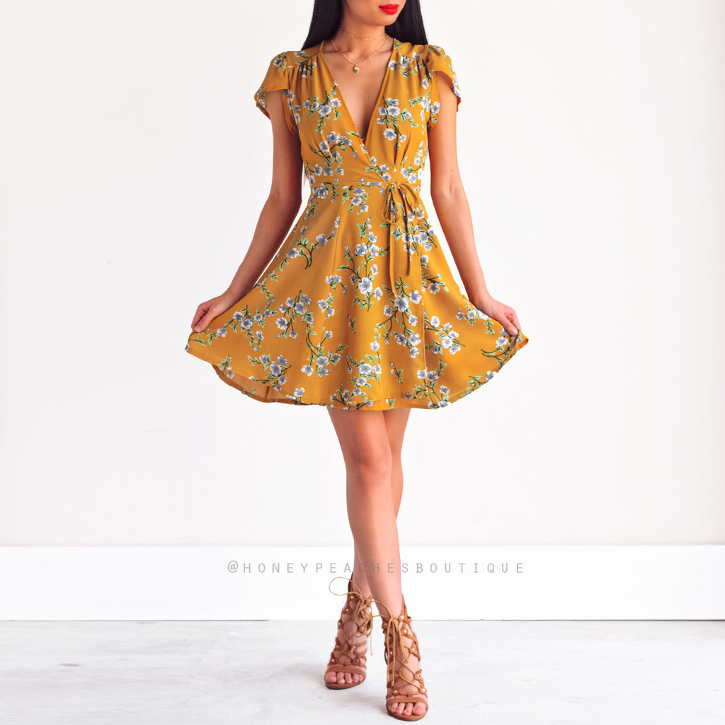 Lilies Of The Field Dress - Mustard Floral