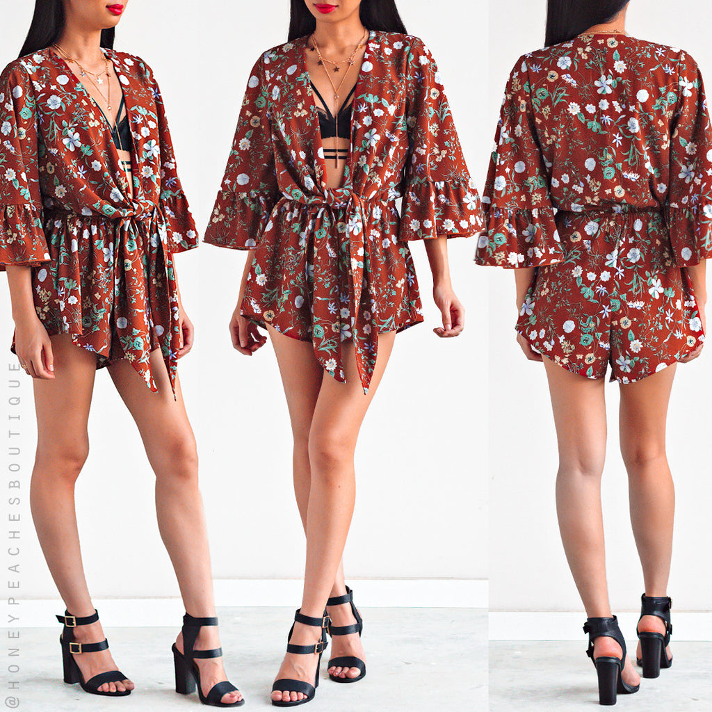 Spring Breeze Playsuit - Dark Rust Floral