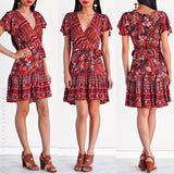 Flower Power Wrap Dress - Red Floral