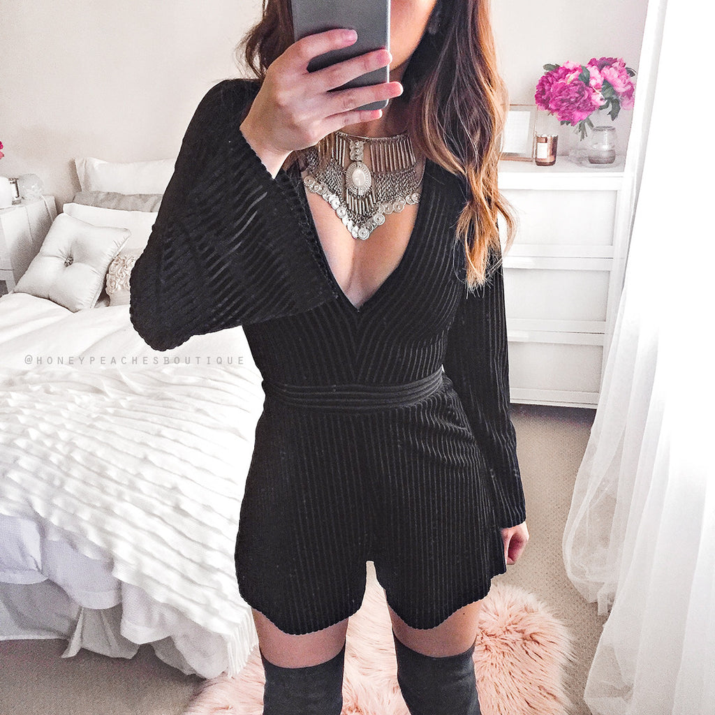 Velvety Love Playsuit - Black